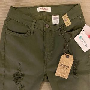 Pants - Military green soft denim pants